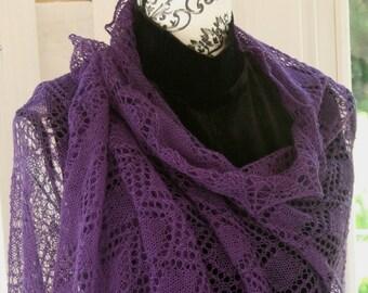 Violet Purple Plum Aubergine Fine Wool Lace Shawl Stole