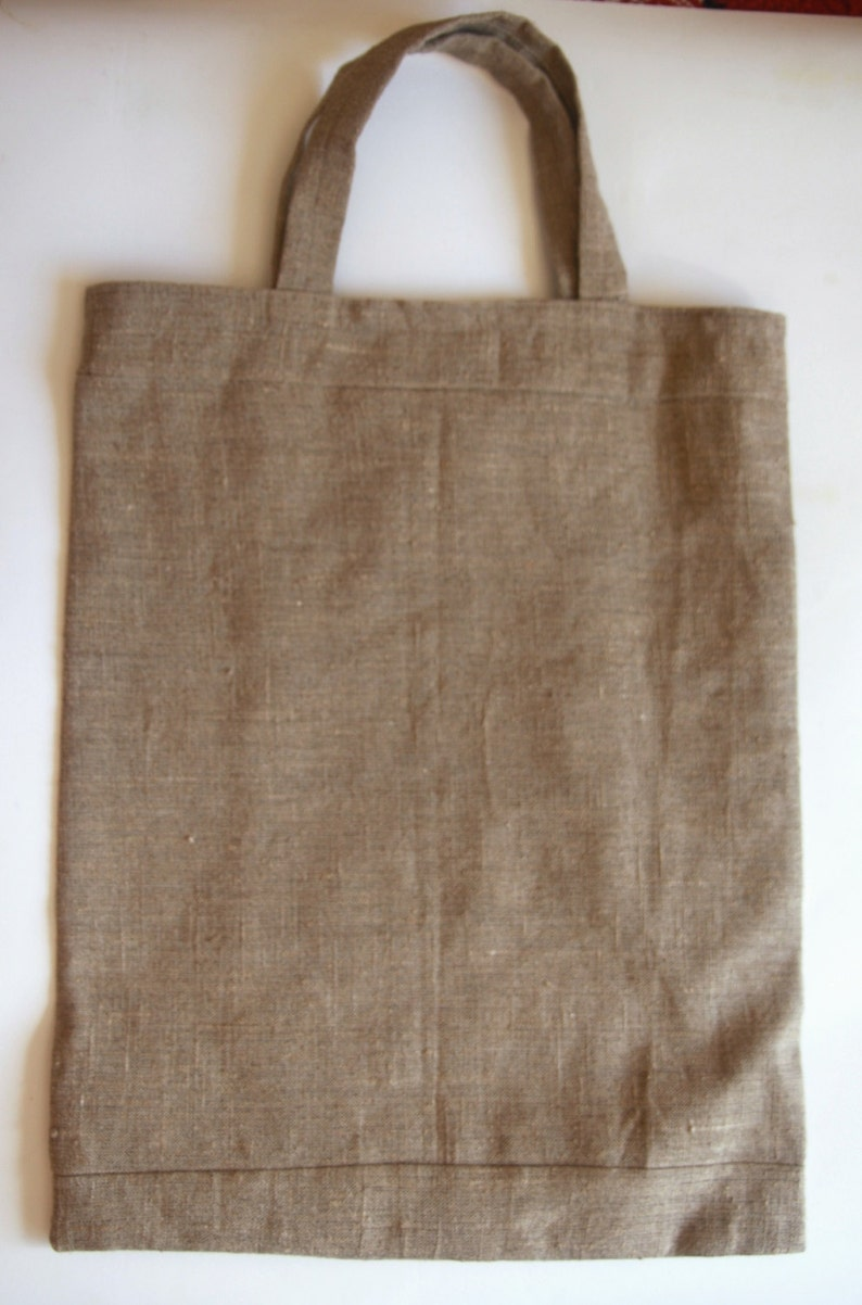 NEW PRICE Natural Linen Shopping Bag with hand-woven cotton details and lining Eco Market bag SALE