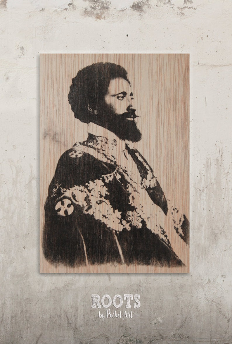 34a77d1bd4 Haile Selassie-Jah Rastafarian b N  Transfer on wood roots
