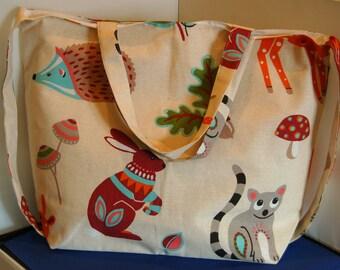 Women's Handmade Tote Bag Woodland Animals Shoulder Bag
