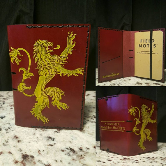 A Lannister always pays his debts Leather Fields Notes cover/Passport wallet made from Premium burgundy English Bridle leather.