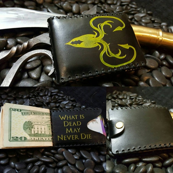"""Premium Black Leather Greyjoy Wallet """"What is Dead May Never Die"""""""