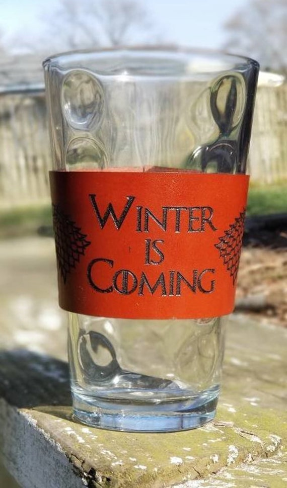 """GOT Inspired """"Winter is Coming"""" English Bridal Leather Coffee sleeve"""