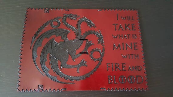 I will take what is mine with Fire and Blood Premium burgundy English Bridle leather Fields Notes/ Passport wallet.