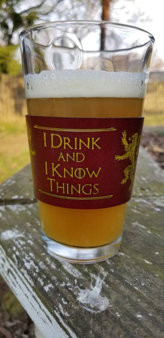 "GOT Inspired ""I Drink and I Know Things"" English Bridal Leather Coffee sleeve"
