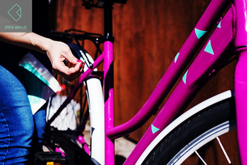 Triangle Design  Bike Stickers  Mint Color  Bicycle Accessories  Gift For Cyclist