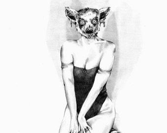 Original Art Print - Furlesque Series - Lemur - Animal Burlesque Drawing - Whimsical Artwork
