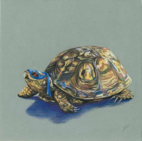 original art print ninja turtle leonardo pastel drawing etsy