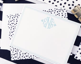 Monogram Notecard - Monogrammed Stationery - Personalized Note Cards - Flat Notecards - Thank You Notes - Custom - Leopard - Teacher Gift