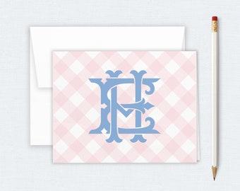 Thank You Notes Ginger Jar Stationery Custom Monogram Folded Notecard Monogram Notecards Girl Personalized Teacher Gift