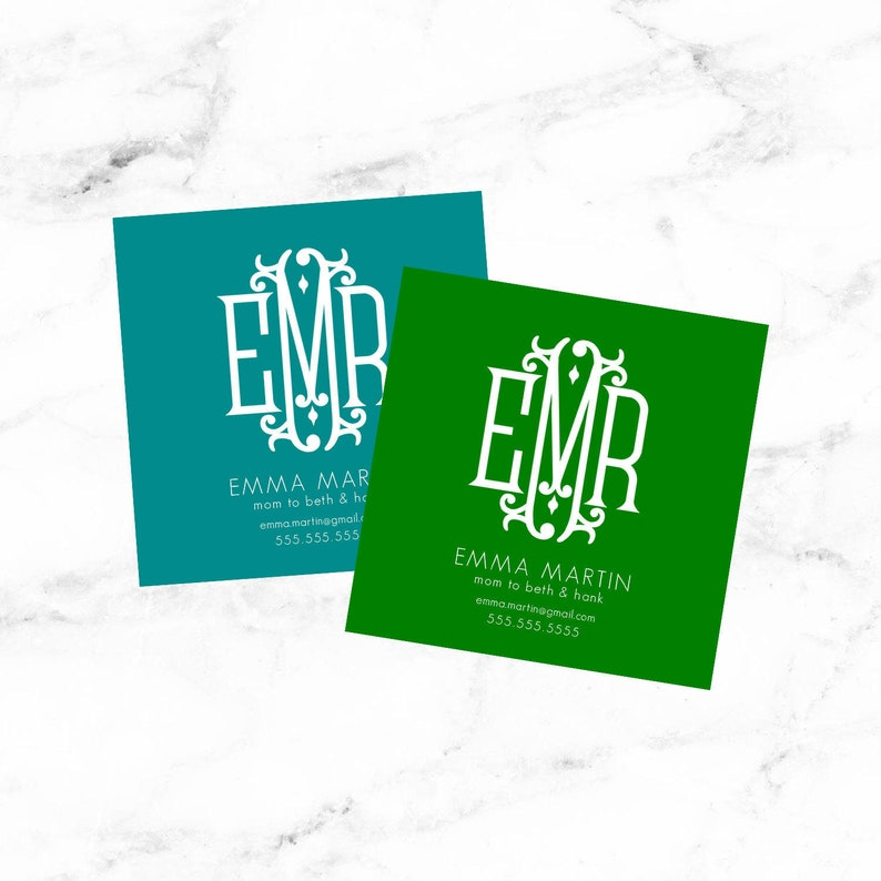 Mom Calling Card Mom Business Card Monogram Business Cards Etsy