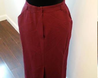 On Sale Now High waisted Burgundy midi kick split skirt