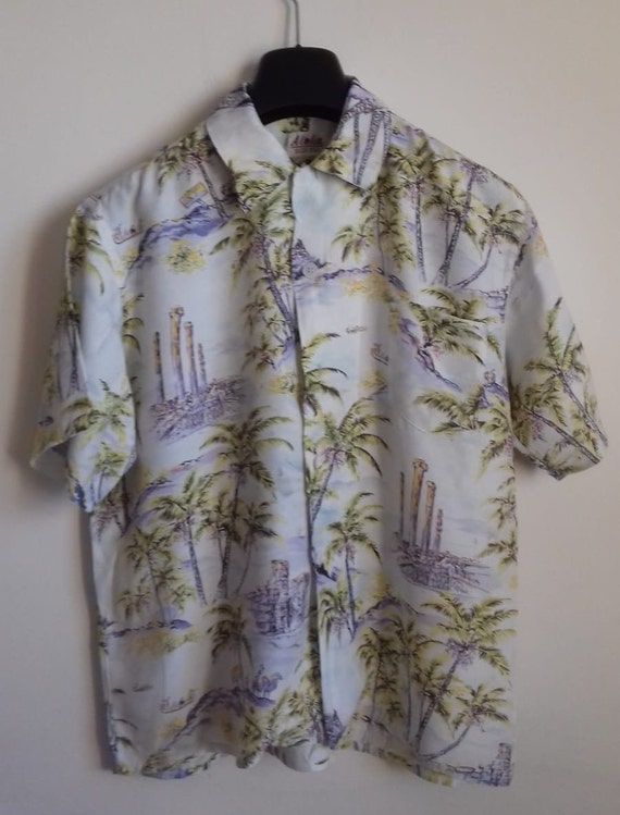 50s Hawaiian Shirt / Rayon vintage shirt / label … - image 5