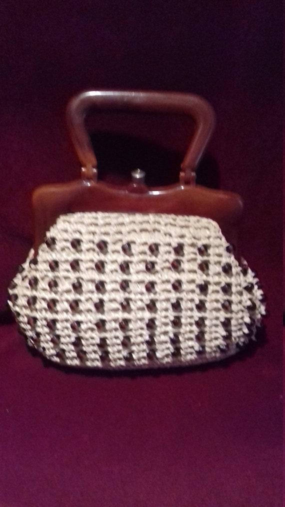1950s Small Raffia beaded Ladies Handbag with Brow