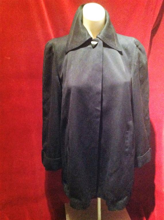 1950s Gaberdine Ladies Swing Jacket / Navy Blue 50