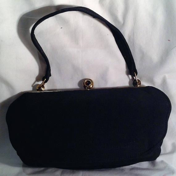 1940s Black Fabric Handbag / Purse