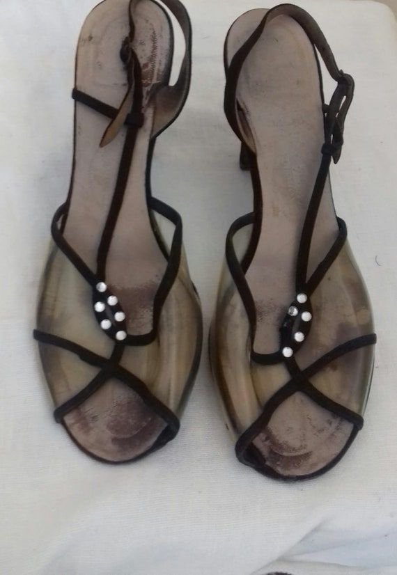 1940s /50s Lucite sling back shoes / 40s/50s Luci… - image 10