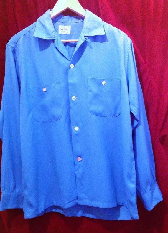 Vintage 1950s Blue Gabardine Shirt / PENNEY'S  TOW