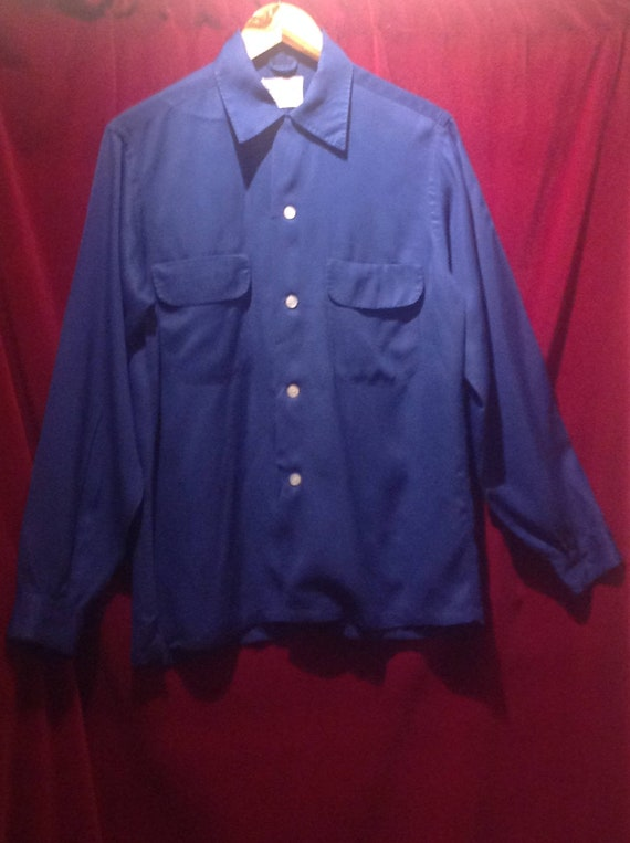 1950s Gaberdine Shirt / Navy Blue loop collar gabe