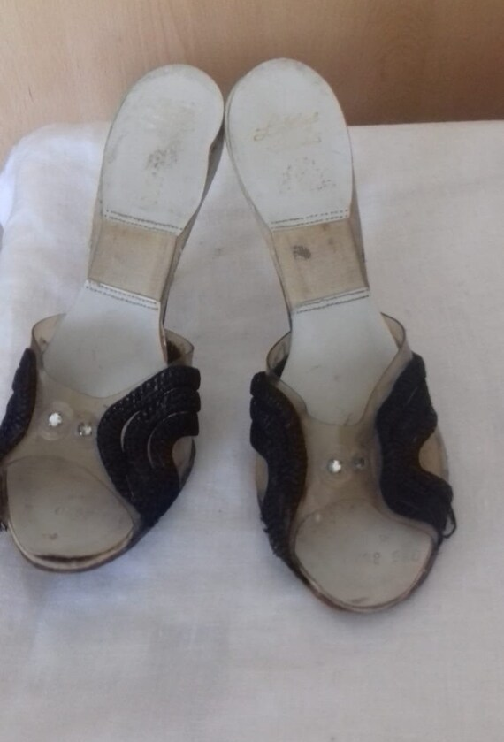 1940s / 50s Lucite shoes / 50s Craved heel / 1940… - image 6