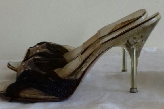 1940s / 50s Lucite shoes / 50s Craved heel / 1940… - image 2