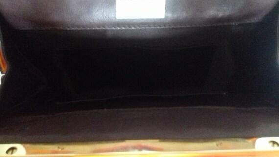 1940s Vintage Lucite Brown Leather handbag /  194… - image 6