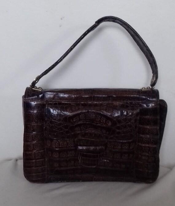 1930s-40s Vintage Ladies  Crocodile Handbag -Purs… - image 9