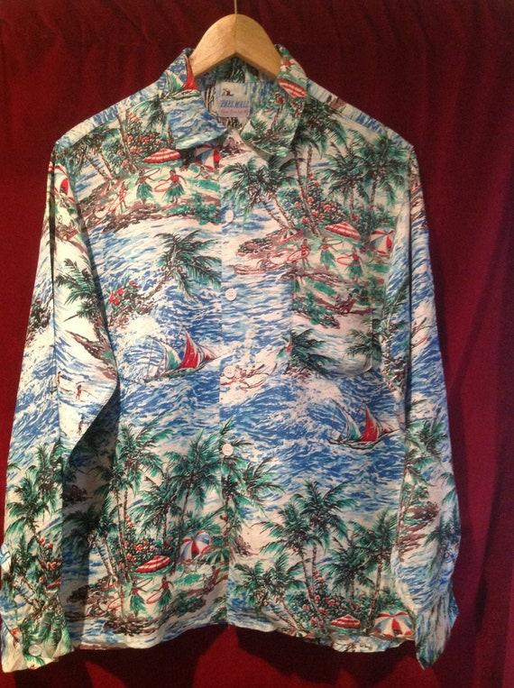 1950s Vintage Rare Hand Painted Silk Hawaiian Shir
