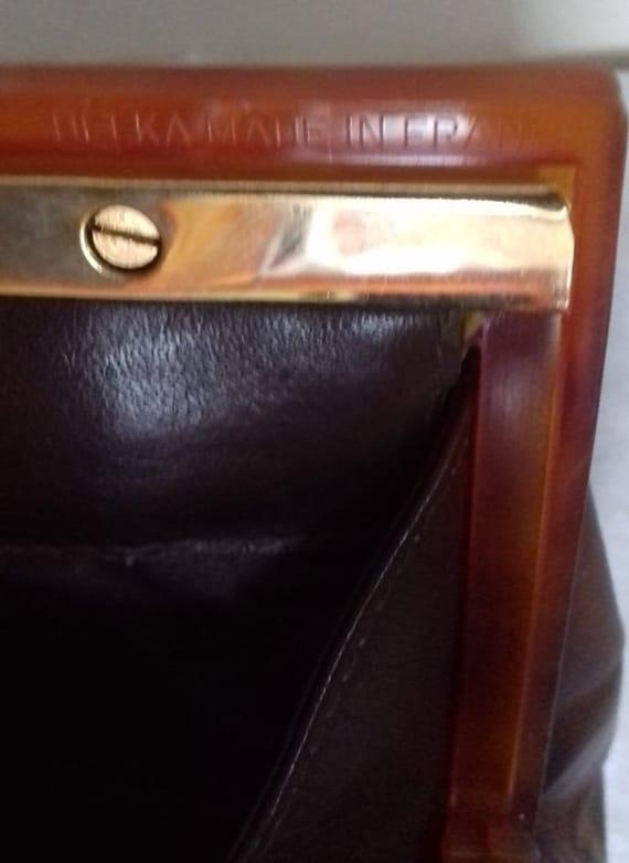 1940s Vintage Lucite Brown Leather handbag /  194… - image 5