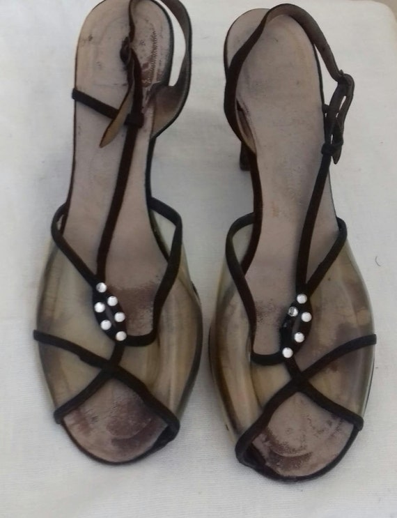 1940s /50s Lucite sling back shoes / 40s/50s Luci… - image 4