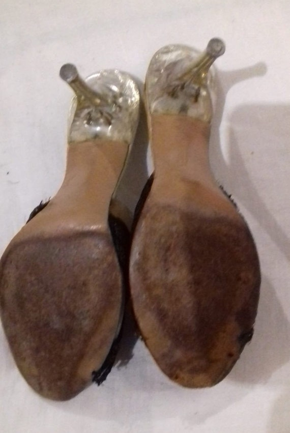1940s / 50s Lucite shoes / 50s Craved heel / 1940… - image 7