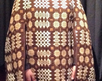 1960's Poncho / Cape / 100% pure welsh wool / Great front pocket/ make - Dillad Coracle , Corwgl Clothes