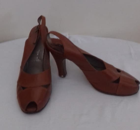 1940s- 50s Original Vintage Ladies Leather shoes /