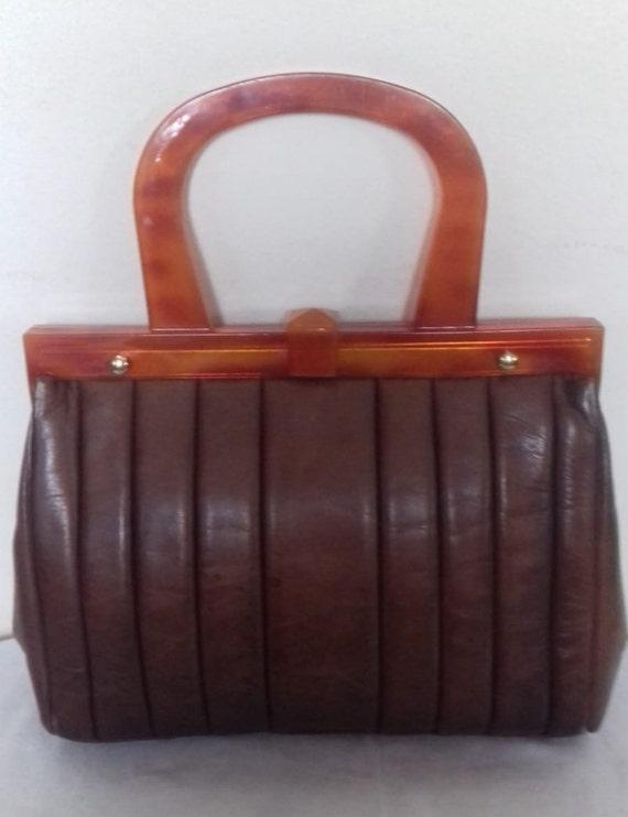1940s Vintage Lucite Brown Leather handbag /  194… - image 9