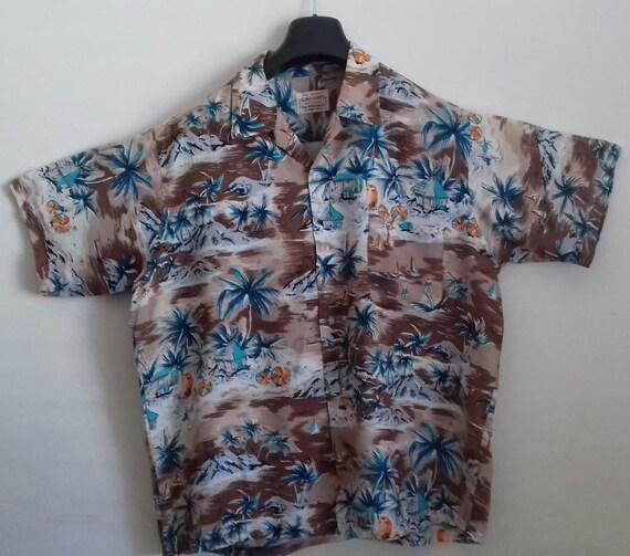 1940s - 50s Vintage Rayon Hawaiian Shirt  / RARE 4