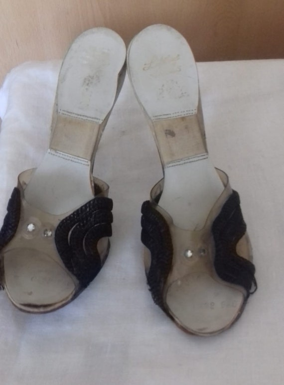 1940s / 50s Lucite shoes / 50s Craved heel / 1940… - image 10