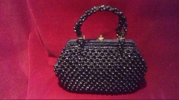 1950s Black Beaded Raffia Ladies Handbag / Beaded