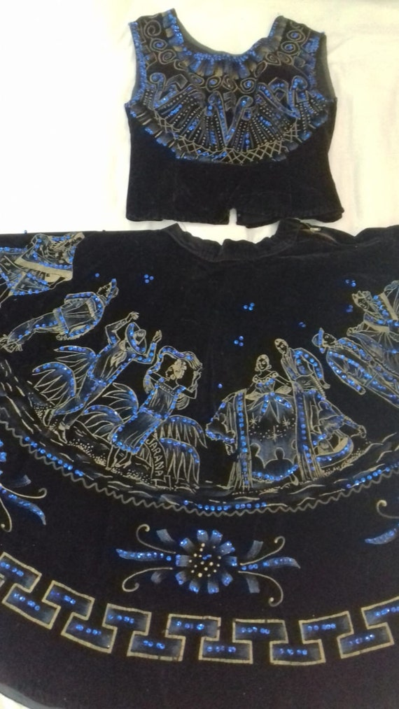 1950s Vintage Mexican Beaded Velvet Skirt and Top/