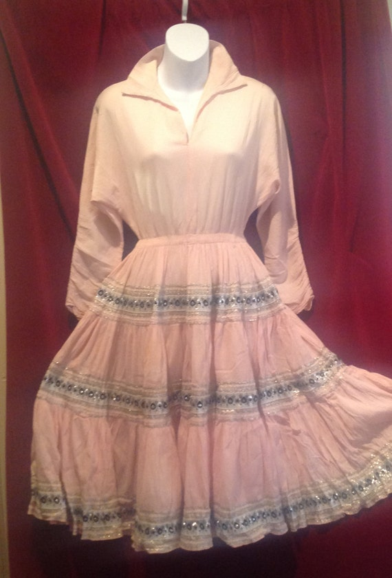 1950s Mexican Pink Dress / 50s Patio Squaw Pink Dr