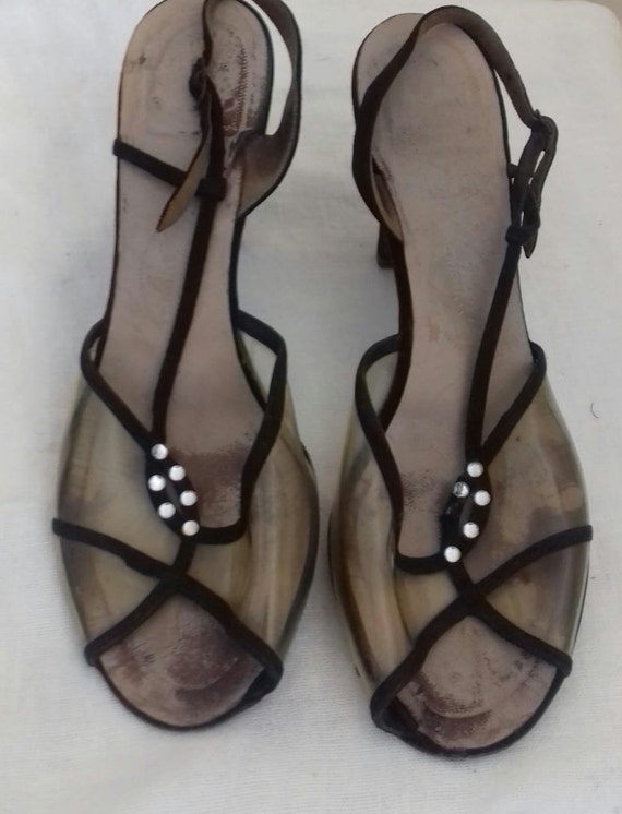 1940s /50s Lucite sling back shoes / 40s/50s Lucit