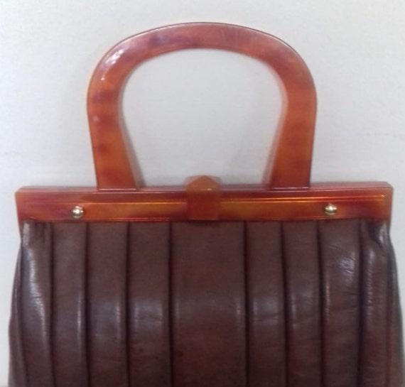 1940s Vintage Lucite Brown Leather handbag /  194… - image 1