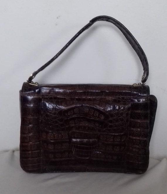 1930s-40s Vintage Ladies  Crocodile Handbag -Purs… - image 2