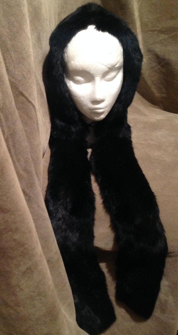 Real Black FUR Hat /  Real Fur Hat with a Scarf