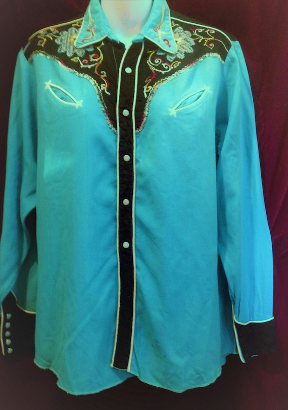 Vintage 1950s Western Shirt Rayon  / 1950s Ranch w