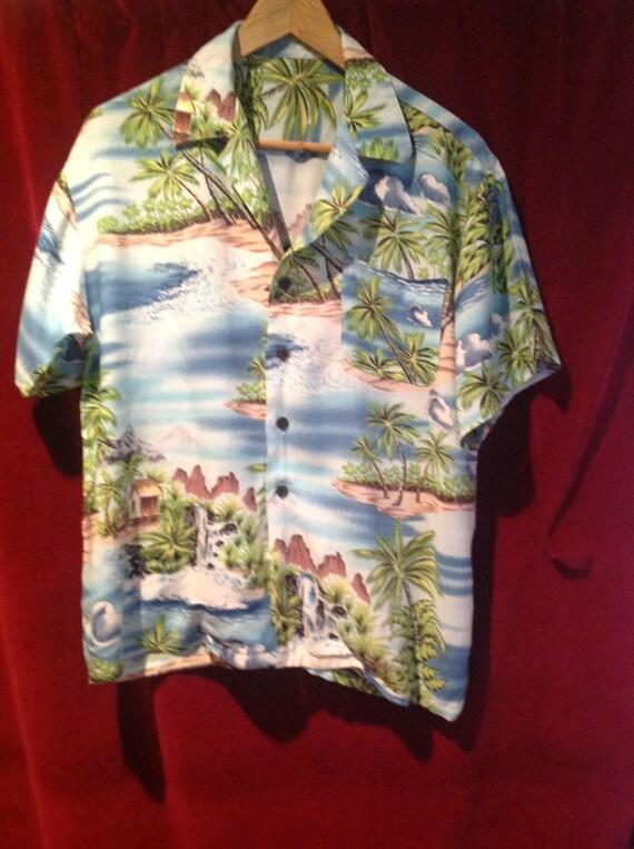 1940s -50s Rayon Hawaiian Shirt // 50s Rayon Hawa… - image 2