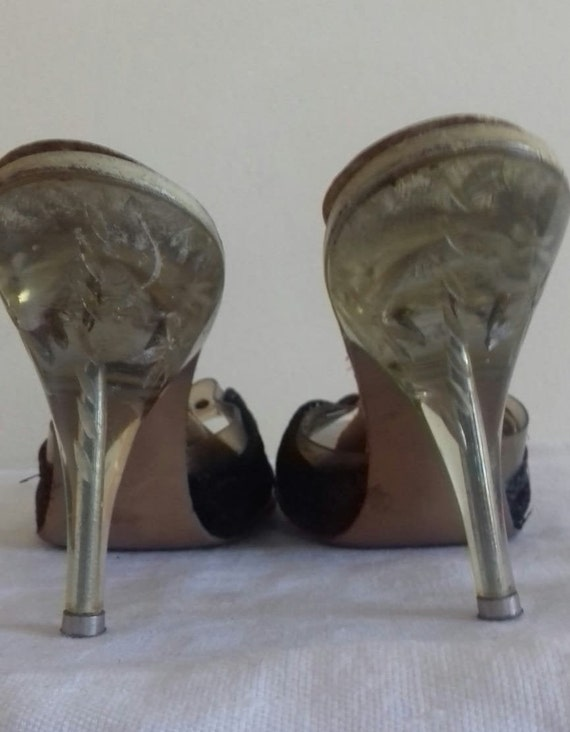 1940s / 50s Lucite shoes / 50s Craved heel / 1940… - image 4