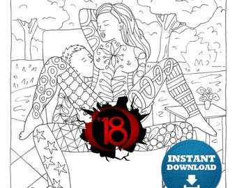 Sex Positions Coloring Book 20 Pages Instant Download