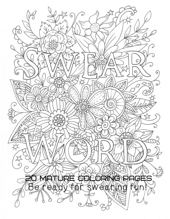 Instant Download Swear Word Coloring Book Naughty Adult Etsy