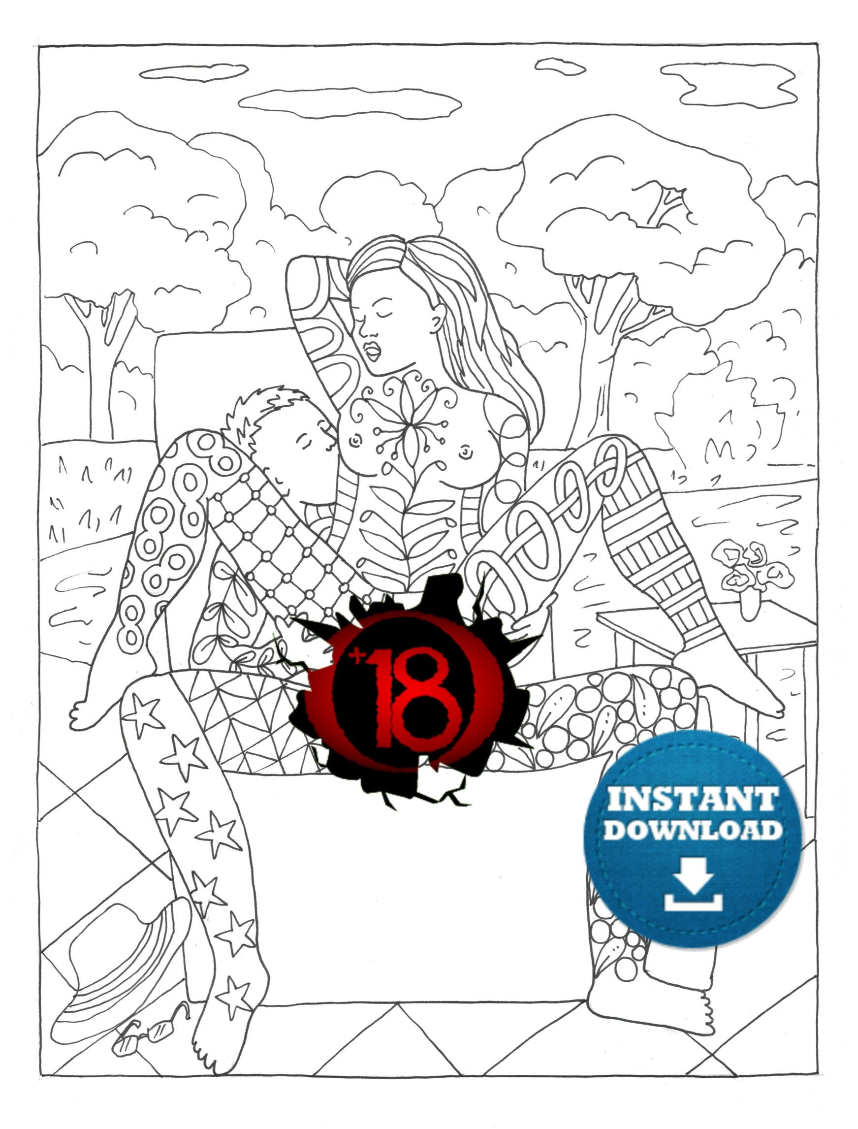 Instant Download Sex Positions Coloring Page Naughty Adult -6276