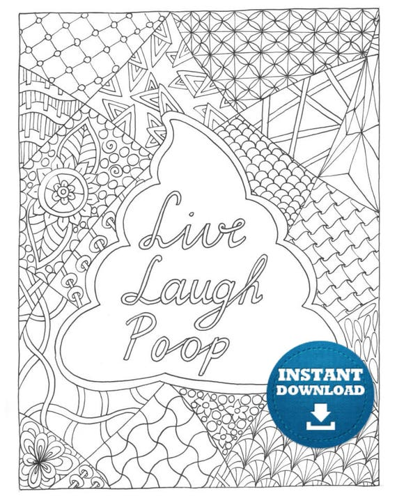 Poop Coloring book 20 pages Instant Download Funny Adult Coloring Zentangle Art, Printable Poo Doodle, Shit Colouring Page Gag gift Birthday